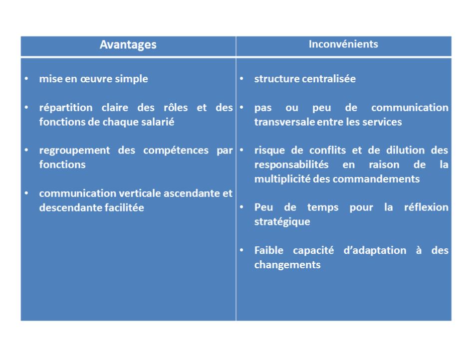 Introduction la gestion avantages et inconv nients de la structure foncti - Avantages et inconvenients ...