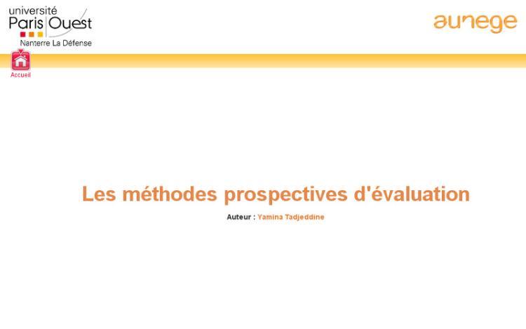 Accédez à la ressource pédagogique Les méthodes prospectives d'évaluation