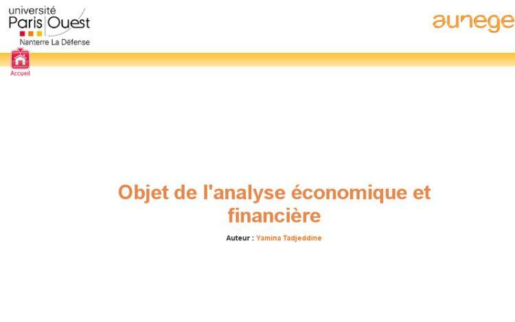 Accédez à la ressource pédagogique Objet de l'analyse économique et financière