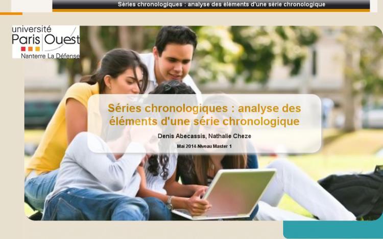 Accédez à la ressource pédagogique Séries chronologiques : Analyse des éléments d'une série chronologique