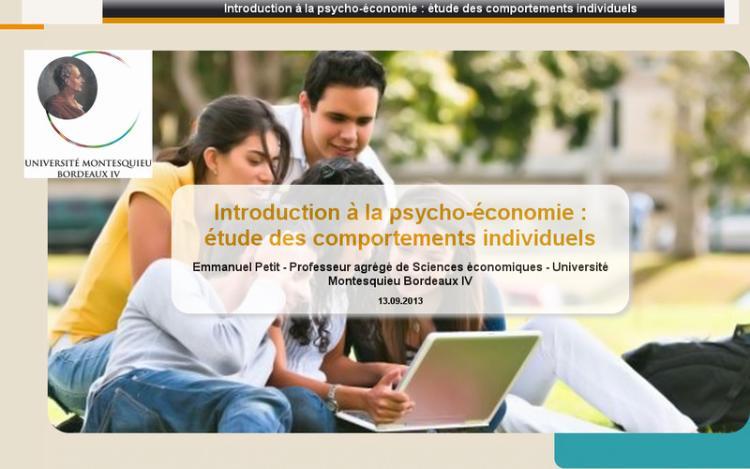 Accédez à la ressource pédagogique Introduction à la psycho-économie : étude des comportements individuels